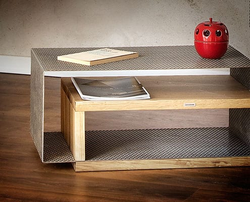 coffee table in rovere acciaio inox reticolo inventoom made in italy