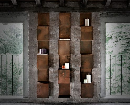 libreria in acciaio corten