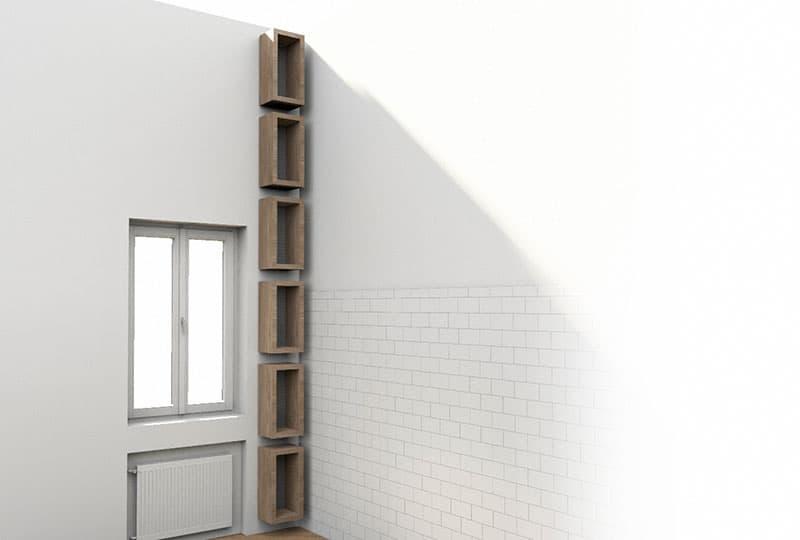 libreria in legno di recupero patchwork inventoom