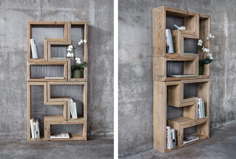 Libreria modulare in legno vecchio di recupero - Patchwork ...