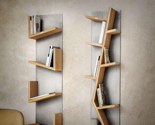 libreria in rovere acciaio inox reticolo inventoom made in italy