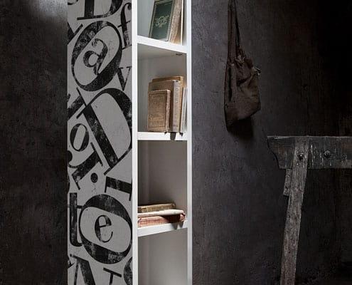 librerie con decoro tipografico cripto bodoni made in italy