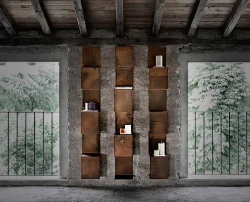 Libreria modulare in corten segmento inventoom