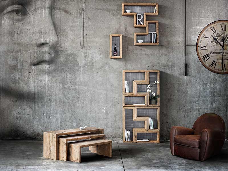 libreria modulare in legno massello di recupero