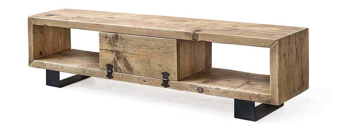 Porta tv in legno massello di recupero