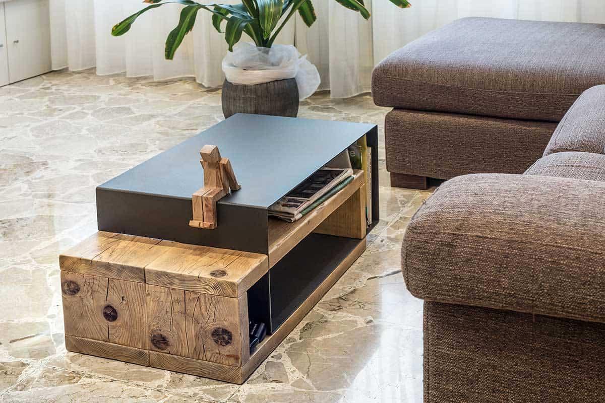 coffee table in legno e ferro