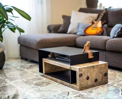 coffee table in legno e ferro