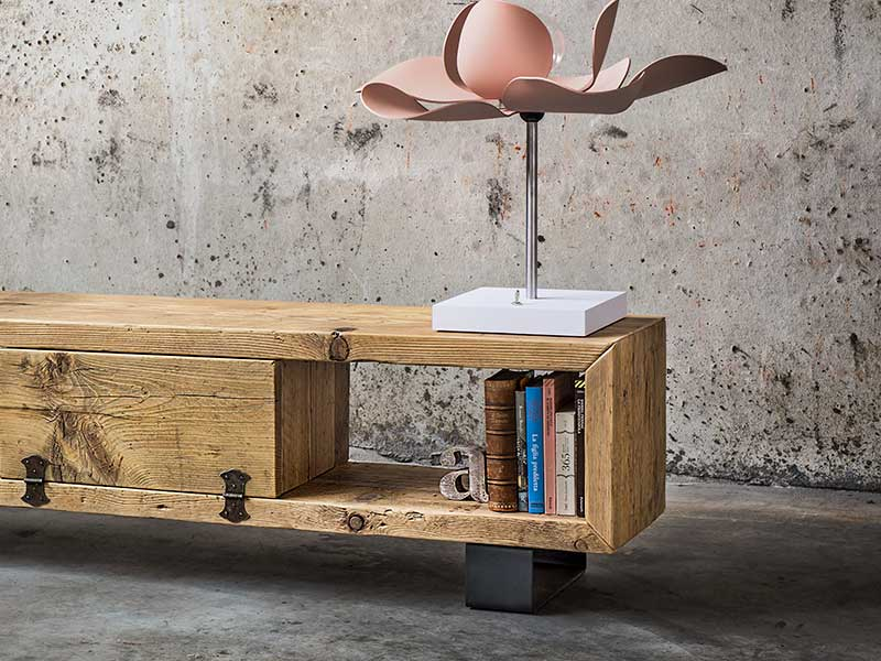 porta tv in legno massello di recupero inventoom