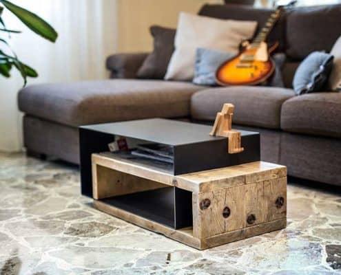 tavolino da salotto in legno massello e ferro inventoom